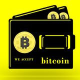 3D rendered We Accept Bitcoin. Concept illustration on a yellow background stock illustration