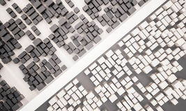 3d rendered, aerial view of contrast city with road. 3d rendered, aerial view of contrast city with main road Royalty Free Stock Photo