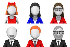 3d rendered avatars. Set of six 3d rendered avatars Stock Illustration