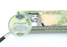 3D Rendered Bahrain money with magnifier investigate currency isolated on white background Royalty Free Stock Photos