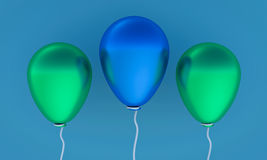 3d rendered balloons. 3d rendered three colorful balloons Stock Image