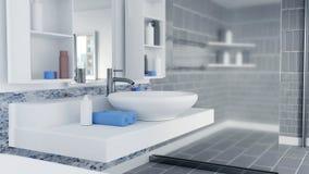 3D Rendered Bathroom Interior Design With Blue Towels royalty free illustration
