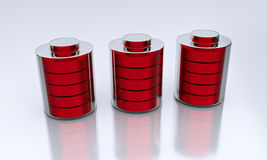 3d rendered batteries. 3d rendered 3 red batteries kept on a white surface Stock Photos