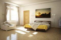 3D rendered bed room. 3D rendered bed daylit room Stock Photography