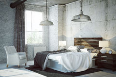 3D rendered bed room. In industrial style apartment Royalty Free Stock Image