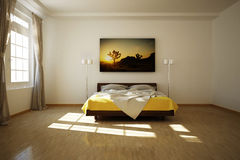 3D rendered bed room. With wooden floor Stock Photos