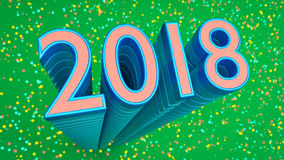 3d rendered 2018. 3d rendered blue colored 2018 in a colorful background stock illustration