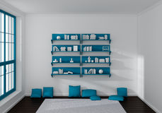 3d rendered bookshelves Royalty Free Stock Image