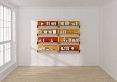 3d rendered bookshelves Stock Photos