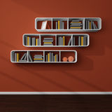 3d rendered bookshelves. Royalty Free Stock Photos
