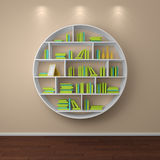 3d rendered bookshelves. 3d rendered bookshelves with books and decorations Stock Images