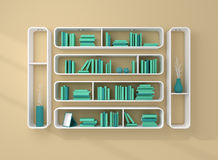 3d rendered bookshelves. Stock Photo