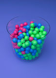 3d rendered bowl with beads. Kept in a Violet background Stock Photography
