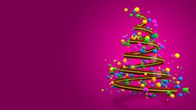 Abstract Colorful 3D Christmas Tree Banner. royalty free stock photo