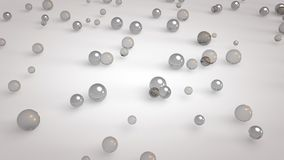 3d rendered close-up of glassy shiny colorful balls on white mirror glass floor stock illustration