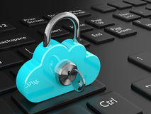 3d rendered cloud padlock on black keyboard. Safety data storage concept Stock Image