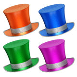 3D rendered collection of colorful decoration top hats Royalty Free Stock Photography