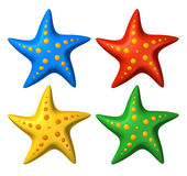 3D rendered collection of colorful stylized starfish toys Royalty Free Stock Photo
