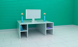 3d rendered computer room Stock Images