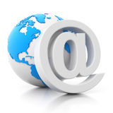 3d e-mail sign with globe icon. 3d rendered e-mail sign with globe icon on white background stock illustration
