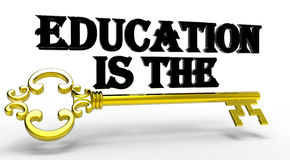3D rendered education is the key. 3D rendered golden key and the text Education is the in black,  on a white background with shadows Royalty Free Stock Image