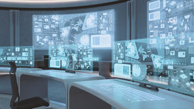 3D rendered empty, modern, futuristic command center interior Stock Photography