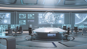 3D rendered empty, modern, futuristic command center interior Royalty Free Stock Photos