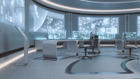 3D rendered empty, modern, futuristic command center interior Stock Photo