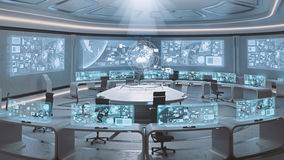 3D rendered empty, modern, futuristic command center interior Royalty Free Stock Images