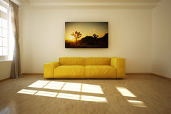 3D rendered empty room with a sofa Stock Images