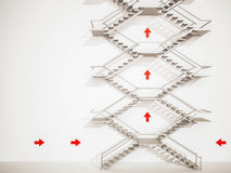 3d rendered, exterior stairs with arrows on white wall Royalty Free Stock Photos
