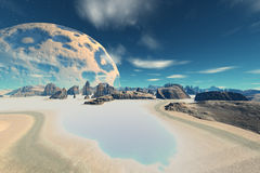 3d rendered fantasy alien planet. Bay Royalty Free Stock Photos