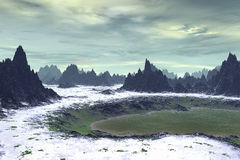 3D rendered fantasy alien planet. Highlands. Alien Planet - 3D Rendered Computer Artwork. Rocks and  lake Royalty Free Stock Image