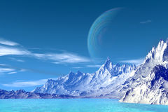 3D rendered fantasy alien planet. Highlands. Alien Planet - 3D Rendered Computer Artwork. Highlands. Rocks and  lake Royalty Free Stock Photo