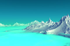 3D rendered fantasy alien planet. Highlands. Alien Planet - 3D Rendered Computer Artwork. Highlands. Rocks and  lake Royalty Free Stock Images