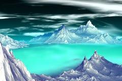 3D rendered fantasy alien planet. Highlands. Alien Planet - 3D Rendered Computer Artwork. Highlands. Rocks and  lake Stock Images