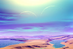 3D rendered fantasy alien planet. Plateau and Lake Royalty Free Stock Photos