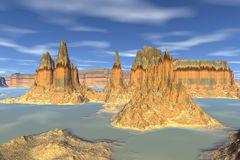 3d rendered fantasy alien planet. Rock Royalty Free Stock Images