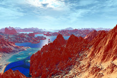 3d rendered fantasy alien planet. Rock Stock Photography