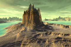 3d rendered fantasy alien planet. Rock. Alien planet - 3d rendered computer artwork. Rock Stock Photo