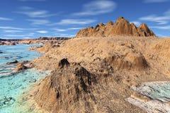 3D rendered fantasy alien planet. Rocks Royalty Free Stock Images