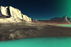 3D rendered fantasy alien planet. Rocks and lake Royalty Free Stock Photos