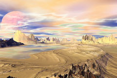 3D rendered fantasy alien planet. Rocks and lake Stock Images