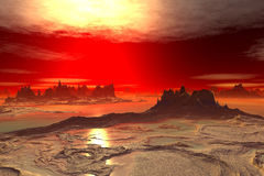 3D rendered fantasy alien planet. Rocks and lake Royalty Free Stock Images