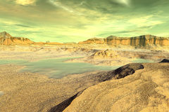 3D rendered fantasy alien planet. Rocks and lake. Alien Planet - 3D Rendered Computer Artwork. Rocks and  lake Stock Photo