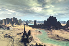 3D rendered fantasy alien planet. Rocks and lake Stock Photo