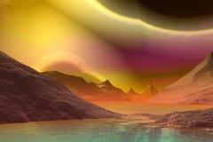 3D rendered fantasy alien planet. Rocks and lake Stock Image