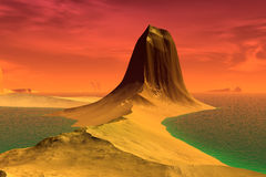 3D rendered fantasy alien planet. Rocks and lake Royalty Free Stock Photo