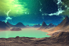 3D rendered fantasy alien planet. Rocks and lake Stock Photos