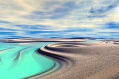 3D rendered fantasy alien planet. Rocks and lake Royalty Free Stock Photography